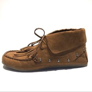 DV by Dolce Vita Brown Faux Suede Moccasin Booties